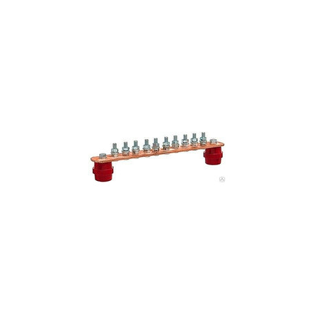 Шина заземления 10 подключений 300х40х4 мм, медь (ГЗШ)